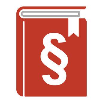 rotes Buch mit Paragrafenzeichen