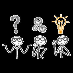 drei Männchen mit Fragezeichen, Zahnrädern und Glühbirne über den Köpfen